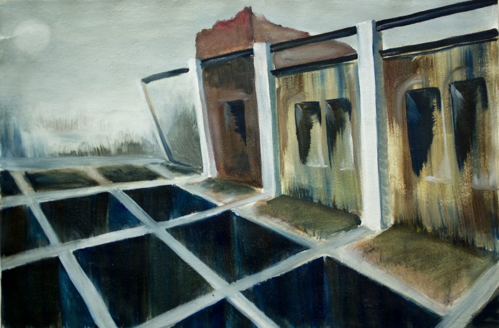 Dam. Oil on paper, 70x100 cm