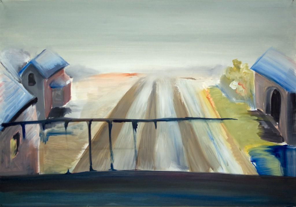 Railway. Oil on paper, 70x100 cm