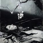 Ophelia. Pastel on paper, 200x150 cm
