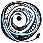 Blue spiral. Ink on paper, 30x30 cm