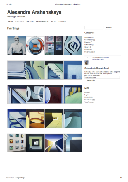 Paintings page