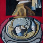 Hommage to Vermeer. Oil on wood. 65×50 cm